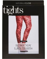 068a37e72aa Simply Be - Naturally Close 1 Pack Burgundy Lace Pantyhose - Lyst
