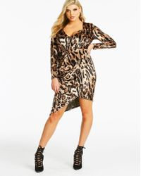 Simply Be - Club L London Tailored Velour Asymetric Dress - Lyst