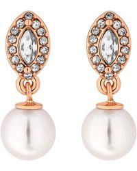 Claudia Canova Jon Richard Rose Gold Pearl Drop Earring - Pink