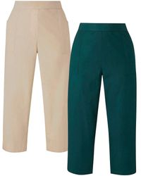 Simply Be Pack Of 2 Woven Trousers - Green
