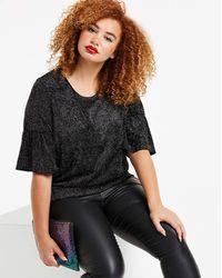 Simply Be Glitter Velour Print Ruffle Sleeve Top - Black