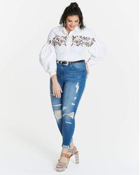 Simply Be Balloon Sleeve Embroidered Top - White