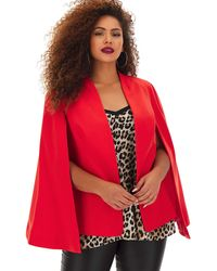 Simply Be - Red Tailored Cape Blazer - Lyst