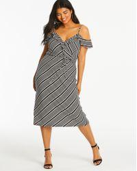Simply Be - Oasis Stripe Wrap Dress - Lyst