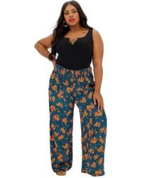 Simply Be Floral Crinkle Shirred Waist Wide Trousr - Blue