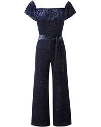 Simply Be - Joanna Hope Velour Bardot Jumpsuit - Lyst