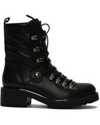 Daniel Footwear Daniel Plip Leather Biker Boots - Black