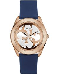 Guess - Ladies Navy Silicone Watch - Lyst