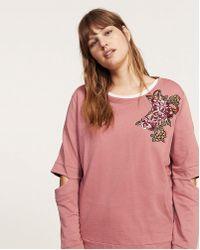 Violeta by Mango - Floral Cut Out Sweat - Lyst
