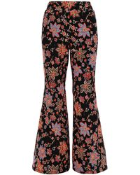 Simply Be Print Crepe Statement Wide Trousers - Black