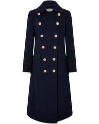 Monsoon Anna Maxi Military Coat - Blue