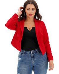 Simply Be Red Cropped Blazer