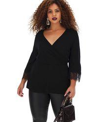 Simply Be Black Lace Trim Wrap Top