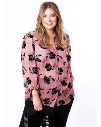 Huit - Koko Flocked Floral Sheer Shirt - Lyst
