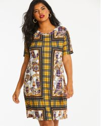 Simply Be - Pink Clove Scarf Printed T-shirt Dress - Lyst