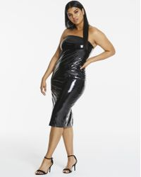 Simply Be - Edited By Amber Rose Vinyl Bandeau Midi Dress - Lyst