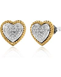Simply Be - 9ct Gold Pave Diamond Heart Studs - Lyst