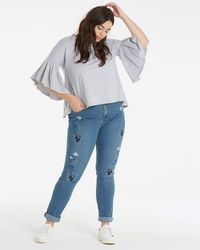 Lost Ink - Embroidered Straight Leg Jeans - Lyst