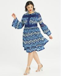 Simply Be - Dolly & Delicious Lace Pannelled Dress With Fluted Sleeves - Lyst