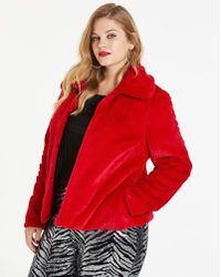 Simply Be - Red Short Faux Fur Coat - Lyst