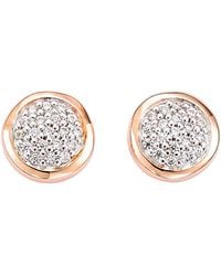 Tommy Hilfiger - 2 Tone Cz Pave Coin Earrings - Lyst