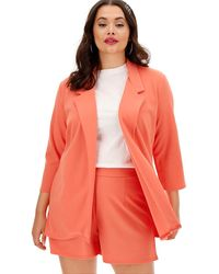 Simply Be - Coral Crepe Throw On Blazer - Lyst