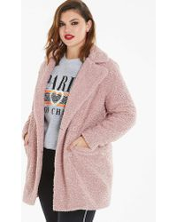 Simply Be - Dusty Pink Teddy Fur Coat - Lyst