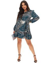 AX Paris Frill Hem Shift Dress - Blue