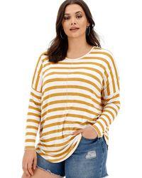 Simply Be Ochre/ White Oversized Stripe Tunic