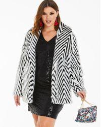 Simply Be - Mono Print Fur Coat - Lyst