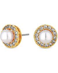 Claudia Canova Jon Richard Gold Pave Pearl Stud Earring - Metallic