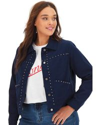 Simply Be - Navy Studded Twill Trucker - Lyst