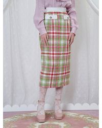 Sister Jane Nora Tweed Midi Skirt - Red