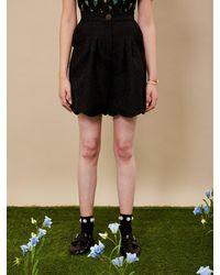 Sister Jane Dream Hoopla Jacquard Tailored Shorts - Black