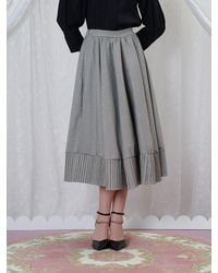 Sister Jane Handkerchief Check Midi Skirt - Grey