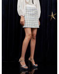 Sister Jane Milky Way Tweed Mini Skirt - Blue