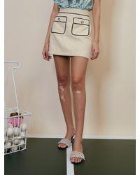 Sister Jane Tie Break Tweed Mini Skirt - Natural