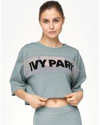 Ivy Park - Sheer Flocked Logo Crop T-shirt - Lyst