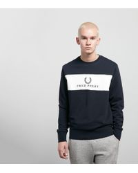 Fred Perry - Central Panel Crew Sweatshirt - Lyst