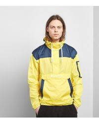 Columbia - Challenger Packable Overhead Hooded Jacket Lightweight In Yellow/navy - Lyst