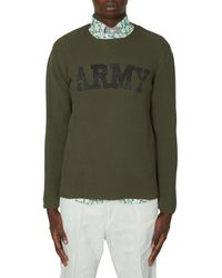 Junya Watanabe Army Logo Crewneck Knitwear Khaki S - Green