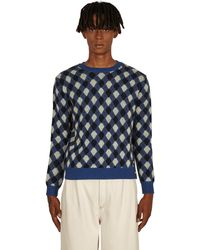 Wales Bonner Williams Argyle Sweater - Blue