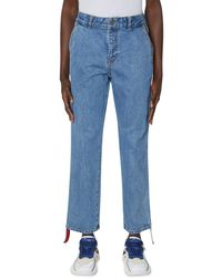 ADER error Side Stripe Denim Trousers - Blue