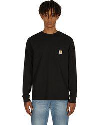 Carhartt WIP Longsleeve Pocket T-shirt Black S - White