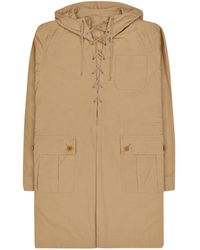 Undercover Long Lace Up Hooded Coat Beige L - Natural