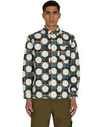 AWAKE NY Polka Dot Flannel Shirt Dusty Blue S - Green