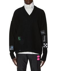 Off-White c/o Virgil Abloh Vintage Punk Patch Knitwear - Black