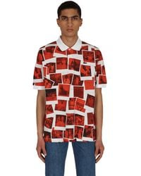 Lacoste L!ive Polaroid Classic Fit Polo Shirt White/red Xs