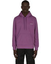 Carhartt WIP Script Embroidery Hooded Sweatshirt Aster / White S - Purple