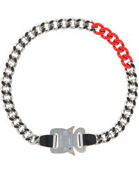 1017 ALYX 9SM Colored Links Buckle Necklace Silver/red S - Metallic